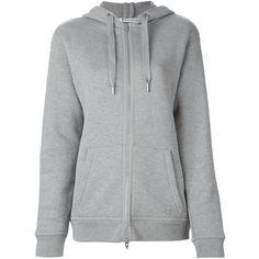 T By Alexander Wang Zipped Hoodie ($375) ❤ liked on Polyvore featuring tops, hoodies, grey, grey hoodie, zip hoodie, zippered hooded sweatshirt, zipper hoodies and zip hoodies