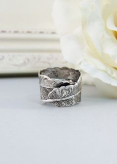 Silver Feather,Ring,Silver,Flower,Iris Ring,Antique Ring,Silver Ring,Blossom,Wedding,Bridesmaid. Handmade jewelery by valleygirldesigns.. $21.00, via Etsy.