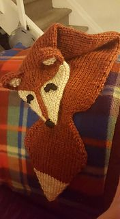 A quick fox scarf made with yarn held double.