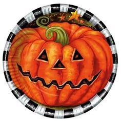 10 halloween pompoen bordjes bedrukt met een enge halloween pompoenen. Deze ronde bordjes zijn leuk voor een Halloween feestje of een griezelfeestje.   De bordjes hebben een diameter van 23cm en zijn van karton gemaakt.