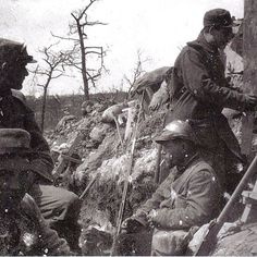 World War One. Downtime in a French trench, 1915.