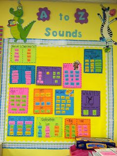 Life in First Grade, phonics wall until spelling starts. Consonants, vowels, blends, digraphs