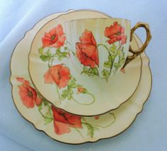 AYNSLEY-ANTIQUE-HP-POPPY-CREAM-GOLD-ORANGE-PEACH-TEA-CUP-AND-SAUCER-TRIO China Cups And Saucers, Coffee Cups And Saucers, Teapots And Cups, China Tea Cups, Tea Cup Saucer, Teacups, Vintage Dishes, Vintage China, Tea Art