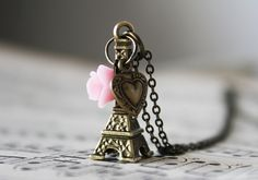Eiffel Tower,with Pink Rose and Heart Charm Vintage style Necklace. vintagebyrachel on Etsy