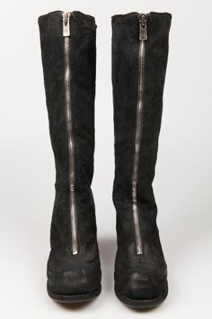 tall horse leather front zip boots - GUIDI - Layers London