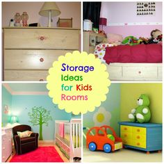 Great ideas for color schemes for kids' rooms, plus great storage ideas and furniture ideas from a mom of twins with limited space
