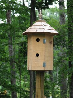 Fancy Bird House-Hexagon shaped rough sawn Cypress with Cedar Shake Roof---$75.00--Shipping Available