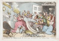 A Doleful Disaster, or Miss Fubby Fatarmin's Wig Caught Fire  Thomas Rowlandson (1756-1827)  London: [Published] by Thomas Tegg, [1813].  Colored etching. 813.9.20.1  BMCat 12147    	Accidents such as this print depicts must not have been uncommon.