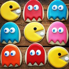 Wakka wakka wakka... Pac Man birthday cookies for an awesome 80s sweet 16 party. I love where this girl's mind is :)