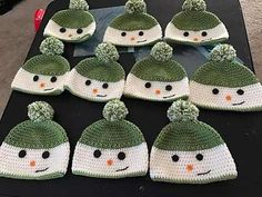 """Winter is by design a happy season! So many fairy tales come to live in December, so many characters we all love and can't wait to meet again, year after year, """"show up"""" making us all, happy . Building a snowman is a part of a happy childhood and good memories. Happy Snowman Hats by …"""