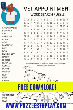 Printable Puzzles, Crossword Puzzles, Free Printable Worksheets, Free Printable Coloring Pages, Printables, Free Word Search Puzzles, Kids Word Search, Animal Clinic, Pet Clinic