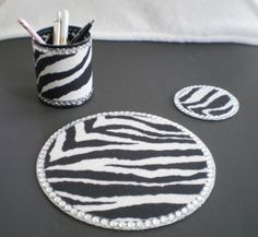 Zebra Print & Bling Computer Desk Set by LaurieBCreations on Etsy, $22.00