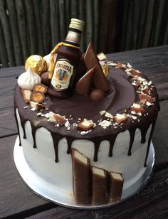 birthday wishes for him Chocolate Cake Designs, Super Torte, Bolo Red Velvet, Alcohol Cake, 18th Cake, Bottle Cake, Retirement Cakes, Just Cakes, Novelty Cakes