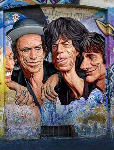 The Rolling Stones Street Art Murals Street Art, Street Wall Art, Street Art Graffiti, Mural Art, Banksy, Stone Street, Urbane Kunst, Sidewalk Art, Amazing Street Art