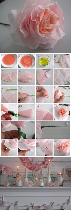 PAPER CRAFTS :: Coffee Filter Rose Tutorial :: All you need are: Coffee filters, Food coloring or dye (red and yellow), Floral wire, Floral tape, Scissors  & a Paint brush