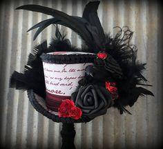 Edgar Allan Poe Mini Top Hat Raven Mini Top Hat Halloween Mad Hatter Hats c731aadb6baa