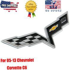 1 PCS CORVETTE CHECKERED FLAG EMBLEM BADGE 100 ANNIVERSARY DECK REAR FRONT NEW