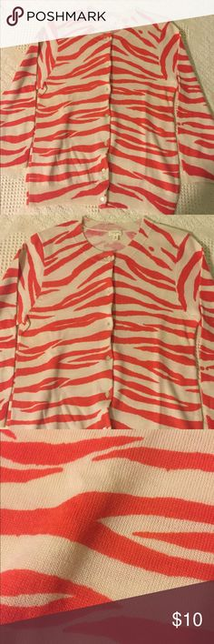 pink and white zebra striped cardigan gently used, stretchy J. Crew Sweaters Cardigans