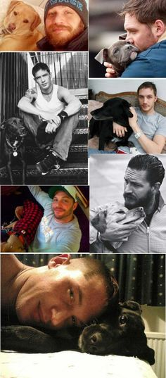 This is sweet, Tom Hardy is a dog person. Except that last picture is he laying on his best friend? Don't crush him Tom! Lol