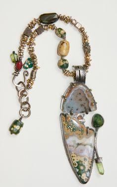 Sterling Silver, Ocean Jasper, Sparkly Drusy Agates, Tourmaline. - ID: 15259818 © Allison Bellows