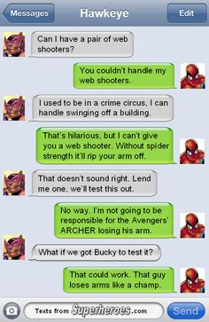 Wait, go back to that crime circus thing. Texts From Superheroes