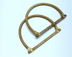Pair of 18 cm Bamboo handles, Bamboo purse handles, bamboo bag handles di…