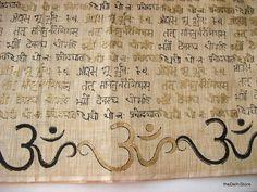 Om Gayatri Mantra Block Print  Khadi Peace Cotton by theDelhiStore