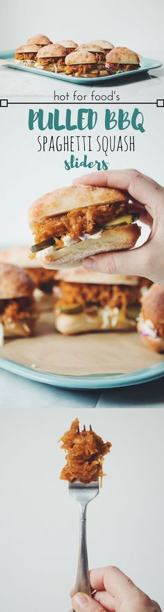 pulled BBQ spaghetti squash sliders | RECIPE on hotforfoodblog.com