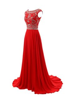Red Prom Dresses,Elegant Evening Dresses,Long Formal Gowns,Beading Party Dresses,Chiffon Pageant For on Luulla