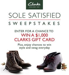 Enter to win a $1,000 Clarks gift card! Satisfy your appetite for style and get chances to win style and swag everyday! #clarkssweeps