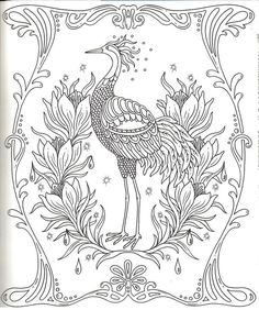 Garden Coloring Pages, Bird Coloring Pages, Adult Coloring Pages, Coloring Books, Flamingo Coloring Page, Markova, India Ink, Colorful Garden, Detailed Image