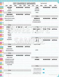 Monthly Budget Worksheet - Digital Instant Download - Financial Organizing Printable. $2.00, via Etsy.