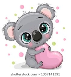 Illustration about Cute Cartoon Koala with heart isolated on a white background. Illustration of baptism, drawing, baby - 143735842 Cute Cartoon Drawings, Cute Cartoon Pictures, Cute Animal Drawings, Cartoon Pics, Cute Images, Cute Pictures, Baby Cartoon, Kids Cartoon Characters, Animated Gifs