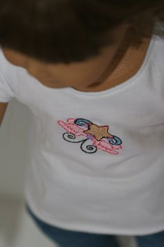 Embroidered cap sleved tshirt tween theme by jmasetsy on Etsy, $8.50