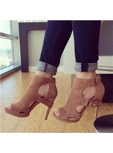 Shoespie Suede Cut-out Stiletto Sandals - Shoespie.com