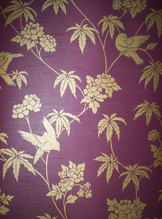 Oriental Inspired Floral and Bird Wallpaper 282 | eBay