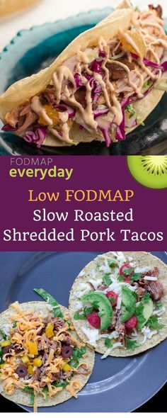 Making these gluten free and low FODMAP Slow Roasted Shredded Pork Tacos is fun! Set out an assortment of low FODMAP toppings like shredded pork, slaw and drizzle of chipotle mayonnaise and get creative! Fodmap Recipes, Pork Recipes, Diet Recipes, Potato Recipes, Tacos Au Porc, Shredded Pork Tacos, Tortillas, Healthy Potatoes, Chipotle Mayonnaise