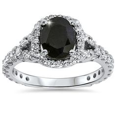 2.25CT Black Sapphire & Diamond Cushion Halo Engagement Ring 14K White Gold by Pompeii3 Inc. -