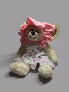 TY ATTIC TREASURES ROSALIE White Bear with Rose Dress Vintage plush gift for her