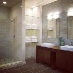 A beautifully tiled master bathroom. #thetileshop