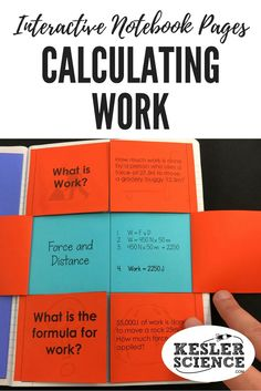 Practice calculating work done by a force using the formula work= force x distance. Includes questions and several math practice problems on this foldable worksheet, perfect for your Force and Motion lesson. Turn science notebooks into a fun interactive a 8th Grade Science, Middle School Science, Science Notebooks, Interactive Notebooks, Science Classroom, Teaching Science, Force And Motion, Science Quotes, Science Resources