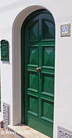 A colorful green door on the streets of the island of Capri, Italy Behind The Green Door, Green Front Doors, Painted Front Doors, Front Door Colors, Front Door Decor, House Paint Exterior, Exterior Doors, Victorian Front Doors, Welcome Signs Front Door