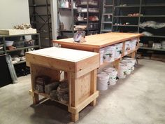 Like the shape/size of this wedging table. Wedging Table and Glaze Counter