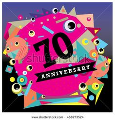 70th years greeting card anniversary with colorful number and frame. logo and icon with circle badge and background