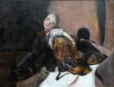 """""""The Puppet: Henry and the High Button Shoes"""" 12""""x16"""" oil on linen by Beverly Brown"""