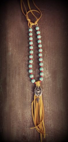 Boho-style western necklace-turquoise/red by cowgirlrelicsdesigns