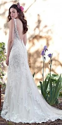 All wedding dresses by Maggie Sottero are feminine, seductive, peculiar and charming. See the best of romantic wedding dresses by this talanted designer! Beach Bridal Dresses, Bohemian Wedding Dresses, Dream Wedding Dresses, Bridal Gowns, Wedding Gowns, Lace Wedding, Groom And Groomsmen Attire, Wedding Dress Patterns, Maggie Sottero Wedding Dresses