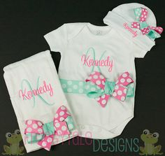 LAYETTE Set Personalized Bodysuit Onesie Bow Beanie and Burp Cloth Set Cap You PICK COLORS Outfit for Little Baby Girls - Monogrammed Custom