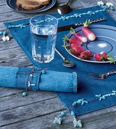 Old jeans into new tableware (inspiring)