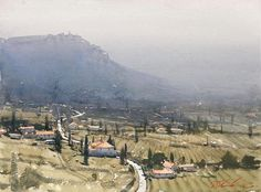 International Masters - Pencil Pines of Tuscany - Watercolor by Joseph Zbukvic